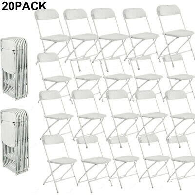 Set of 20 Commercial Folding Chairs Stackable Picnic Party Home Office White