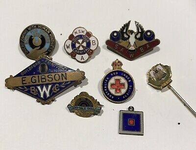 Assort Bowling Club Badges Enamel, Stokes , Amor ,Angus And Coote + Red Cross Ba