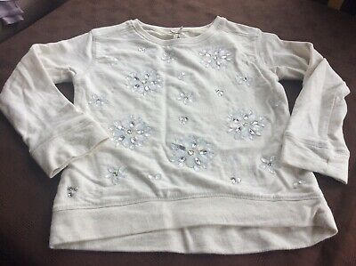 Girls Next Cream Jumper With Floral Diamantes Age 6 Years