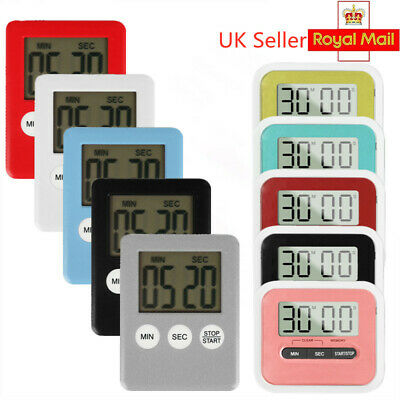 Slim Magnetic LCD Digital Kitchen Timer Count Up Down  Alarm Food Thermometer