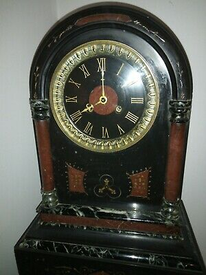 Antique French  Black Slate And Marble 8 Day Chiming Clock