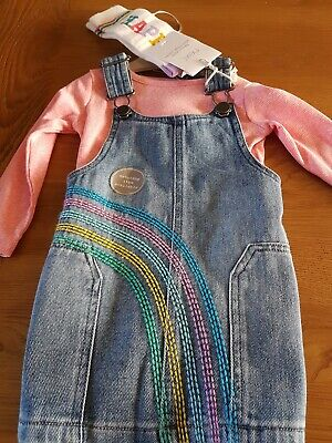 Next Girls Outfit Denim Pinafore Top @ Socks Age 9-12 Months New