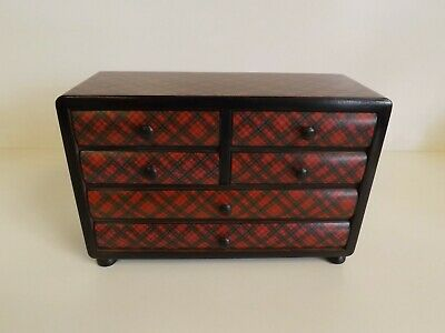 Antique Tartan Ware Rare Apprentice / Miniature Chest Of Drawers. 1900's