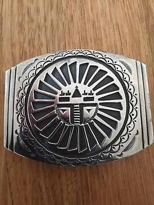 sterling native american belt buckle