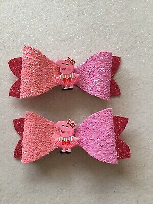 Girls Pair Of Peppa Pig Sparkly Hair Bow Handmade Small