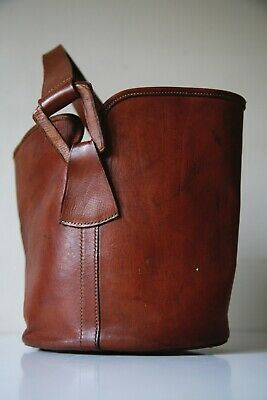 Vintage NORRIS Womens Thick Brown Leather Large Slouch Bucket Shoulder Bag