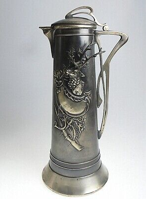 Art Nouveau WMF? Silverplate Pitcher Claret Jug Stag Hunting Motif Rare Antique