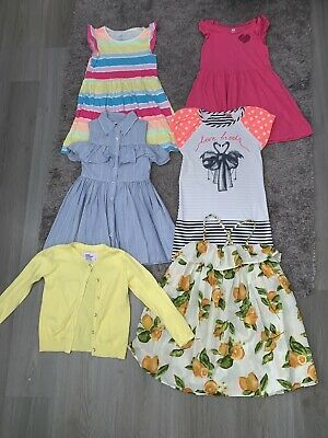Girls Bundle Age 5-6 Years (5 Dresses & Cardigan) M&S, Next And H&M