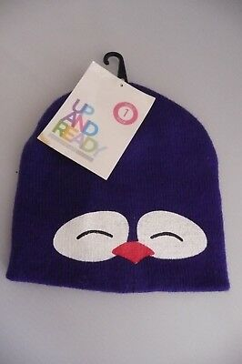 new ONE SIZE BLUE ANIMAL FACE Girls Childs kids UP AND READY Beanie Hat BNWT