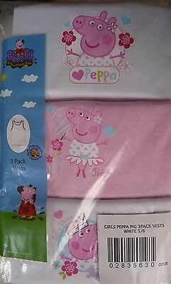 Bnip Pack Of 3 Peppa Pig Vests Age : 5/6 Years Girls White/Pink 100% Cotton Bnwt