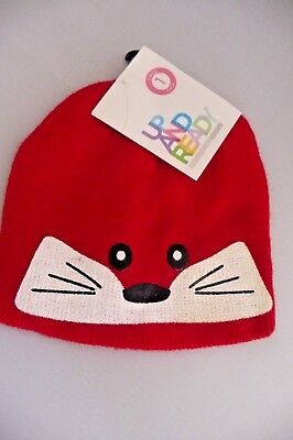 ONE SIZE New RED ANIMAL FACE Girls Childs kids boys UP AND READY Beanie Hat BNWT