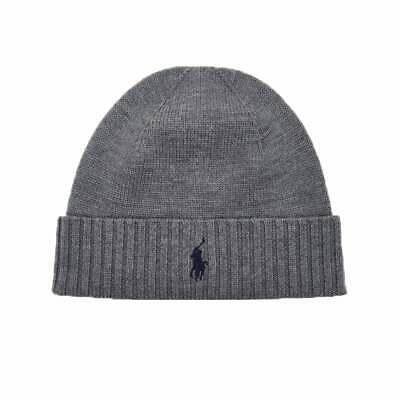 Ralph Lauren Polo Beanie Hat Wool Grey Mens One Size 100% Genuine New