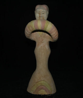 """18"""" Antique Old Chinese Tang San Cai Pottery Dynasty Palace People Sculpture"""