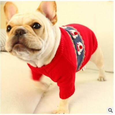 Dog Sweater Cat Puppy Kitted Jumper Pet Clothing Kitty Warm Christmas Santa New