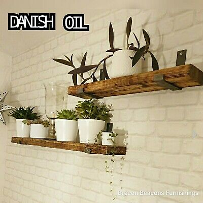 Rustic Wooden Shelves Chunky Wooden Shelf incudes Brackets