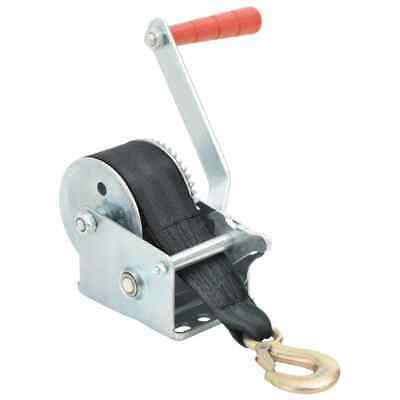 vidaXL Hand Winch with Strap 360kg with Webbing Strap Puller Manual Hand Winch#