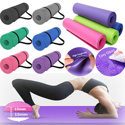 Yoga Mat 15mm Extra Thick Gym Exercise Non Slip Pilates Fitness Carry Strap NBR