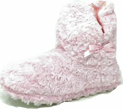 Ladies Teens Girls Pink Fluffy Faux Fur Bootie Bow Slippers Size Womens 3-8