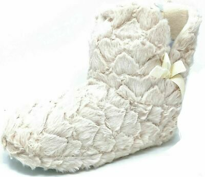 Ladies Teens Girls Cream Fluffy Faux Fur Bootie Bow Slippers Size Womens 3-8