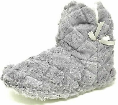 Ladies Teens Girls Grey Faux Fur Bootie Slippers Size Womens 3-8