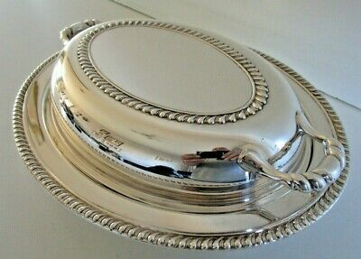 Silver Plated Lidded Entree Dish with Glass Ovenware Liner