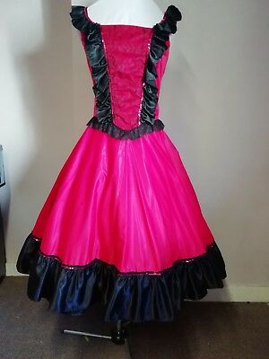 "Red & Black Can Can/Saloon Girl style costume. 34"" bust.  Calf length."