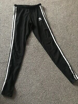 adidas girls training bottoms size 6 UK black well worn