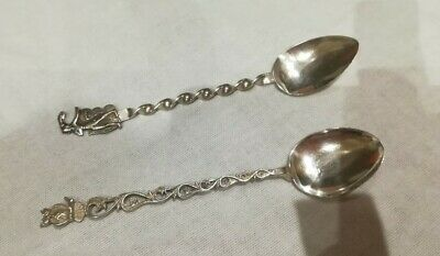 Continental Silver '835' Owl Teaspoon From Greece And Silver Plated Teaspoon