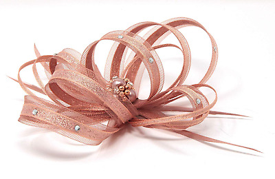 Sparkling rose gold fascinator with bead cluster and diamantè with comb, clip,