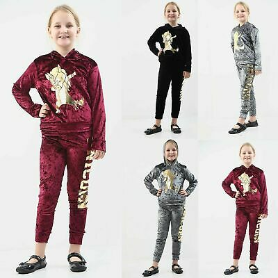 Kids Girls Velour Hooded Unicorn Dab Tracksuit Top Bottom Velvet Lounge Wear