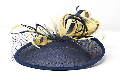 Navy blue and yellow hatinator style fascinator with comb, clip, alice band.