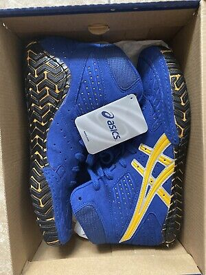 Asics Aggressor Wrestling Shoes Royal Blue/Yellow Gold sz 9.