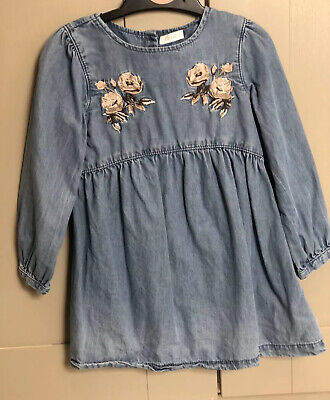 Girls Age 2-3 Years Next Dress Blue Denim Cotton Embroidered
