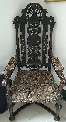 Early Victorian, Gothic Hand Carved Oak Chair with Original Stone Casters