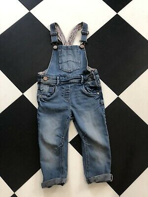 Girls Age 2-3 Years Next Dungarees Blue Denim Floral Lining