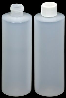Plastic Bottle (HDPE Natural) w/White Lid, 8-oz., 50-Pack, New