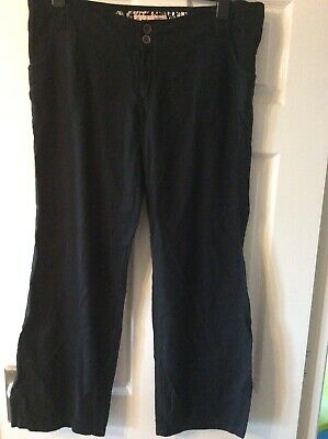 Ladies New Look Maternity Black Linen Trousers Size 12