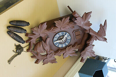 Large NM Vintage German Cuckoo Clock-Double Bird-Missing Pendulum