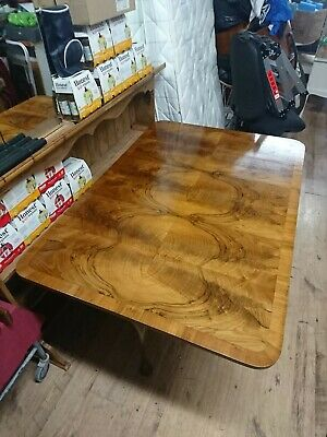 Antique Burr Walnut/Mahogany Drop Leaf Table Dining Table