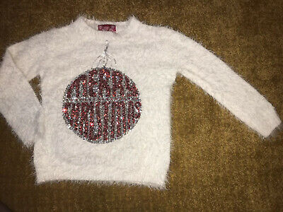 Girls White Fluffy Christmas Jumper Top With Sequin Bauble 7-8 Years