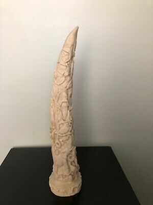 "Vintage Large 15"" Carved Jungle Animals Resin Elephant Tusk Figurine"