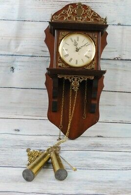 Vintage Wooden Wall Clock with Weights and Pendulum – Requires Repairs to Chains