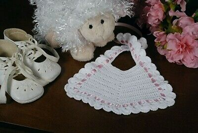 Hand Crocheted Baby Bib With Shell Edge - Newborn