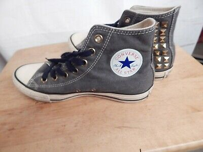 converse high tops, womens size 8.5. grey, gold studs