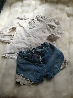 girls 3-4 years outfit m&s frilly blouse top denim crochet shorts bundle next da