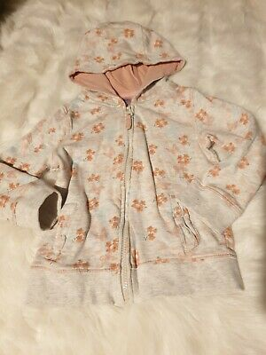 girls 2-3 years floral hoodie jumper track top zip cute winter clothes next day