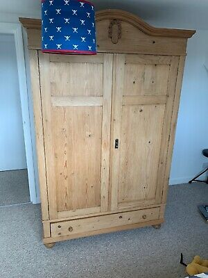 Large Antique Victorian Handwaxed Solid Pine Double Wardrobe Rrp £1,200