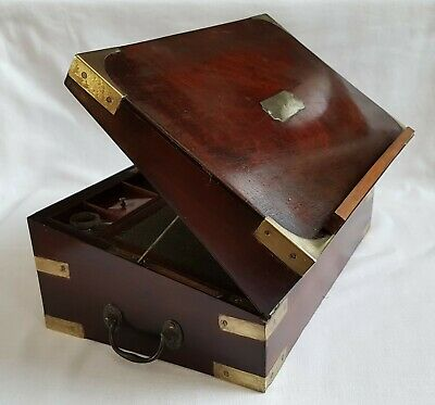 Antique Georgian Brass Bound Campaign Writing Slope Lectern Book Rest Lock & Key