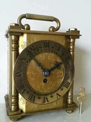 Vintage Smiths England All Brass,Mechanical Carriage, Mantle Clock 8 Day Working