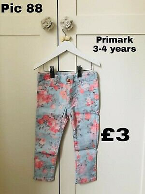 Girls Flowery Jeans Trousers Primark Size Age 3 4 Years Good Condition